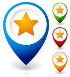 Översiktsmarkör med stjärnan Favorit- ställe, läge gears symbolen royaltyfri fotografi