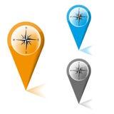 Översiktsmarkör med symbolen av en kompass stock illustrationer