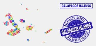 Översiktsmarkörcollage av översikten för Galapagos öar och skrapade stämpelskyddsremsor royaltyfri illustrationer