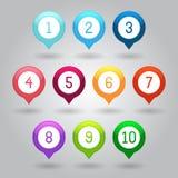 Översiktsmarkörer med illustrationen för nummervektor eps10 Royaltyfri Foto