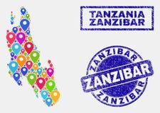 Översiktsmarkörmosaik av den Zanzibar ööversikten och texturerade skyddsremsor vektor illustrationer