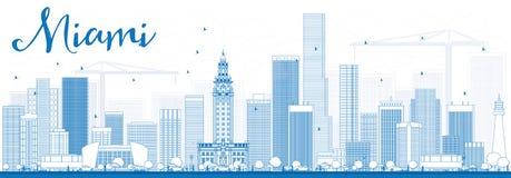 ÖversiktsMiami horisont med blåa byggnader Fotografering för Bildbyråer