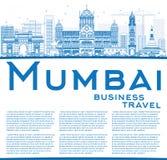ÖversiktsMumbai horisont med blåa gränsmärken royaltyfri illustrationer