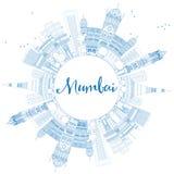 ÖversiktsMumbai horisont med blåa gränsmärken vektor illustrationer