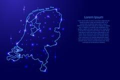 ÖversiktsNederländerna från konturerna knyter kontakt blått, lysande utrymmestjärnaillustration Arkivbilder