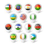 Översiktspekare med flaggor. Afrika. Royaltyfri Bild