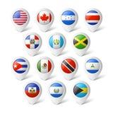 Översiktspekare med flaggor. Nordamerika. Royaltyfri Bild