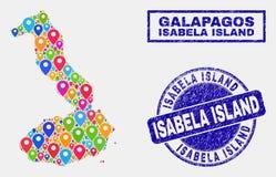 Översiktspekarecollage av Isabela Island av Galapagos översikts- och nödlägestämplar stock illustrationer