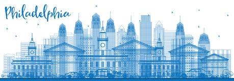 ÖversiktsPhiladelphia horisont med blåa byggnader royaltyfri illustrationer