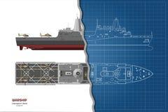 Översiktsritning av det militära skeppet Överkant-, framdel- och sidosikt Modell för slagskepp 3d Industriell isolerad teckning a stock illustrationer