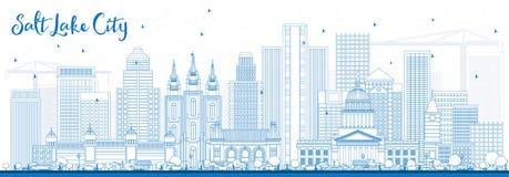 ÖversiktsSalt Lake City horisont med blåa byggnader stock illustrationer