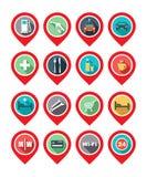 Översiktssymbol - bilservice, hotell, sjukhus, restaurang, wi-fi Arkivbilder