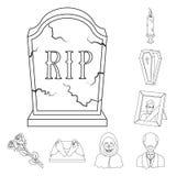 Översiktssymboler för begravnings- ceremoni i uppsättningsamlingen för design Rengöringsduk för materiel för begravning- och attr royaltyfri illustrationer