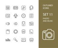 Översiktssymboler gör framlänges designen, den moderna linjen slaglängd tunnare Royaltyfri Foto