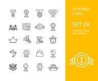 Översiktssymboler gör framlänges designen, den moderna linjen slaglängd tunnare Royaltyfri Fotografi