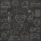Översiktssymbolerna om en auto reparation och ett garage Arkivbild