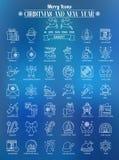 Översiktssymbolsjul och nytt år Royaltyfri Bild