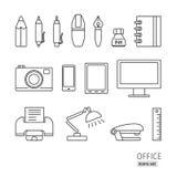 Översiktssymbolsuppsättning Kontorstillförsel, skrivare, lampa, penna, blyertspenna, c Royaltyfri Fotografi