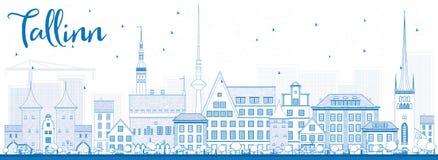 ÖversiktsTallinn horisont med blåa byggnader vektor illustrationer