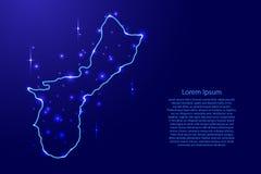 Översiktsterritoriet av Guam från konturerna knyter kontakt blått, lysande utrymmestjärnaillustration vektor illustrationer