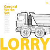 Översiktstypografiuppsättning med lastbilen Skisserad lastbil Medel för konstruktionsmaskineri Royaltyfria Foton