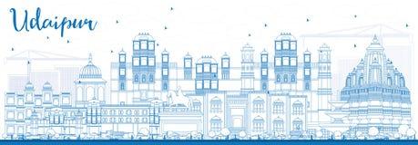 ÖversiktsUdaipur horisont med blåa byggnader vektor illustrationer