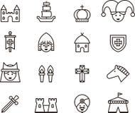 Översiktsuppsättning av medeltida symboler Arkivbilder