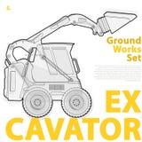 Översiktsuppsättningen av konstruktionsmaskineri bearbetar med maskin medel, grävskopa Konstruktionsutrustning för byggande Arkivfoto