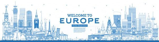?versiktsv?lkomnande till Europa horisont med bl?a byggnader stock illustrationer