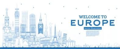 ?versiktsv?lkomnande till Europa horisont med bl?a byggnader vektor illustrationer