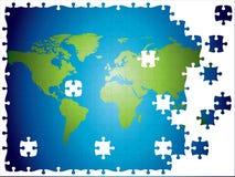 översiktsvärld redigerbar fullt jigsaw i lager Arkivfoto