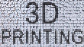 överskrift för PRINTING 3D på fluktuerande PIXELbakgrund, tolkning 3D Arkivfoton