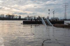 Översvämma i vinter på Rhen med en bro och en vrakgods Royaltyfria Bilder