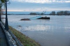 Översvämma i vinter på Rhen med en bro och en vrakgods Royaltyfri Foto
