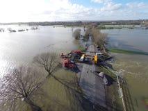 Översvämma på de Somerset nivåerna Arkivfoto