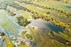 Översvämmad aerea av den Okavango deltan i Botswana Arkivbild