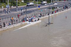 Översvämmad Budapest gata Royaltyfria Foton