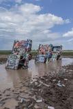 Översvämmad Cadillac ranch Royaltyfria Foton