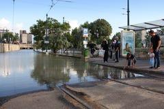 Översvämmad Donau i Budapest Arkivbilder