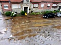översvämmad gata royaltyfria bilder