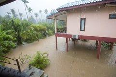 Översvämmad gata med palmträd och huset, ö Koh Phangan, Thailand Arkivfoto