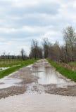 Översvämmad landsgränd med stora pölar Royaltyfria Foton