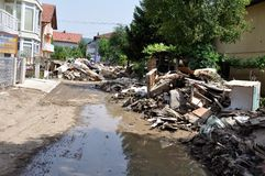 Översvämmad stad från Bosnien och Hercegovina Maglaj stad arkivfoto