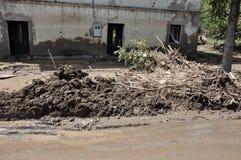 Översvämmad stad från Bosnien och Hercegovina Maglaj stad Arkivfoton