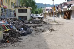 Översvämmad stad från Bosnien och Hercegovina Maglaj stad Royaltyfria Foton