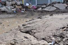 Översvämmad stad från Bosnien och Hercegovina Maglaj stad Royaltyfri Fotografi
