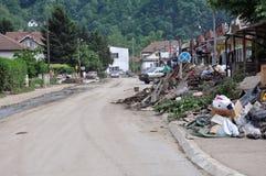 Översvämmad stad från Bosnien och Hercegovina Maglaj stad Arkivbild