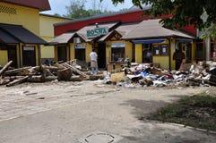 Översvämmad stad från Bosnien och Hercegovina Maglaj stad Fotografering för Bildbyråer