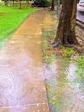 Översvämmad trottoar Arkivbild