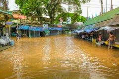 översvämmad väg Royaltyfria Bilder